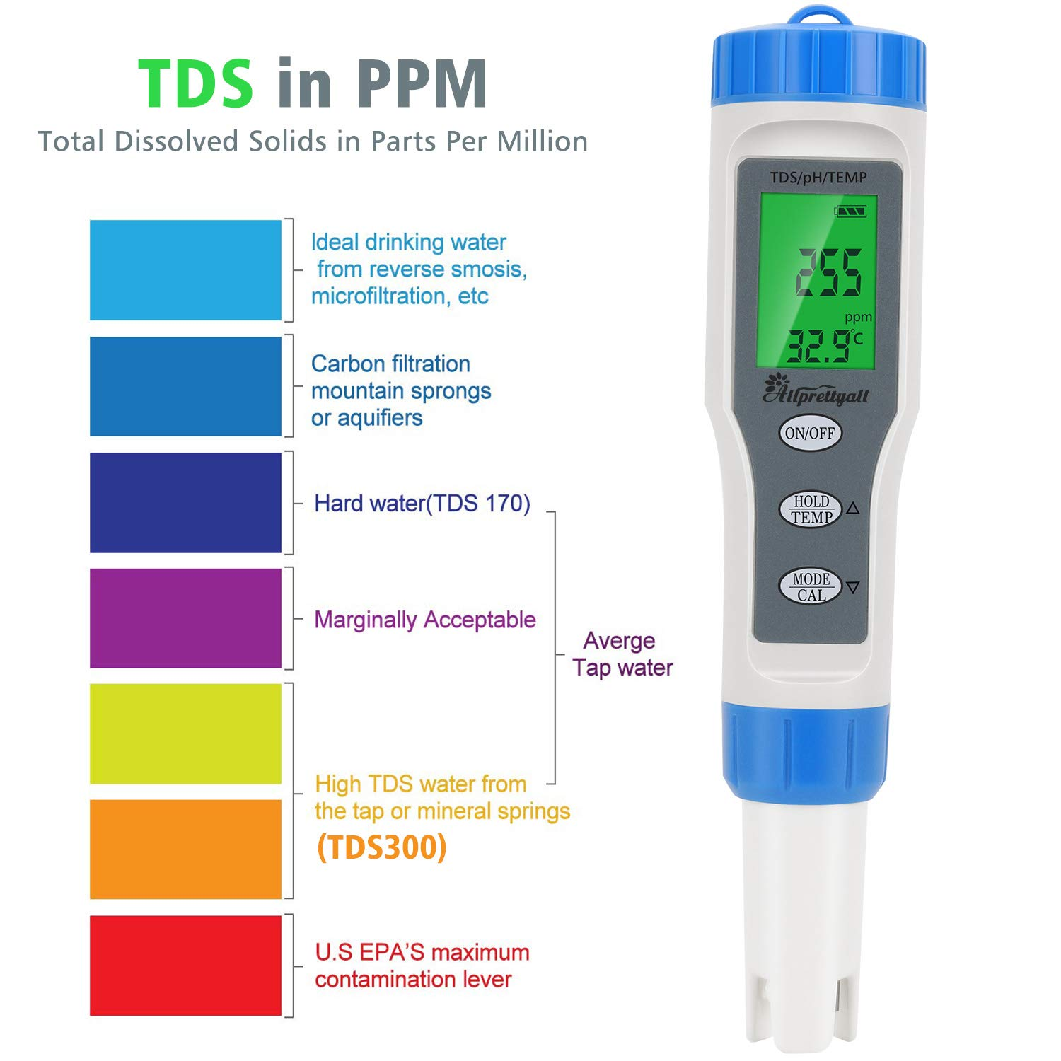 Aquarium Hydroponics Lab Allprettyall Digital PH Meter PH Tester 0.01 PH High Accuracy Water Quality Tester with ATC: 3 in 1 PH TDS Temp Pocket Size for Household Drinking Water