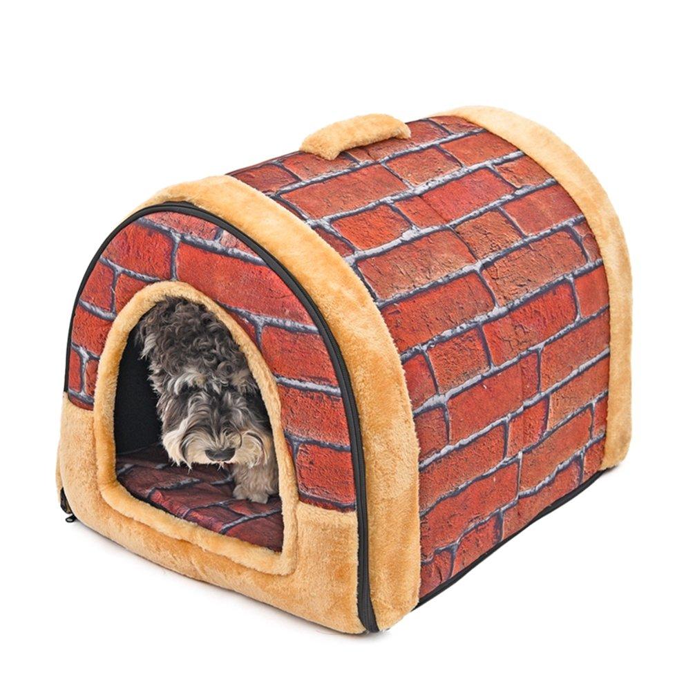 LA VIE 2 en 1 Casa y Sofá para Mascotas Plegable Cueva de Viaje para Gatos Lavable Casa con Base Antideslizante Nido Cómoda y Suave para Gatos Perros ...