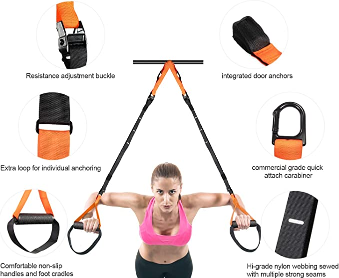 Door Anchor and Portable Travel Bag Gym Fitness Resistance Straps iDeer Life Suspension Trainer Kit Perfect for Working Out Anywhere Whole Body Training Straps Set with Wall Mount