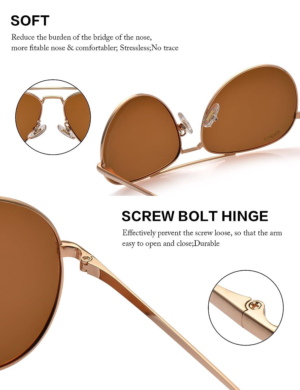 LUENX Hombre & Mujer Gafas de sol Aviador polarizado con estuche - UV 400 protección Marrón Lente Marco de metal 60mm: Amazon.es: Ropa y accesorios