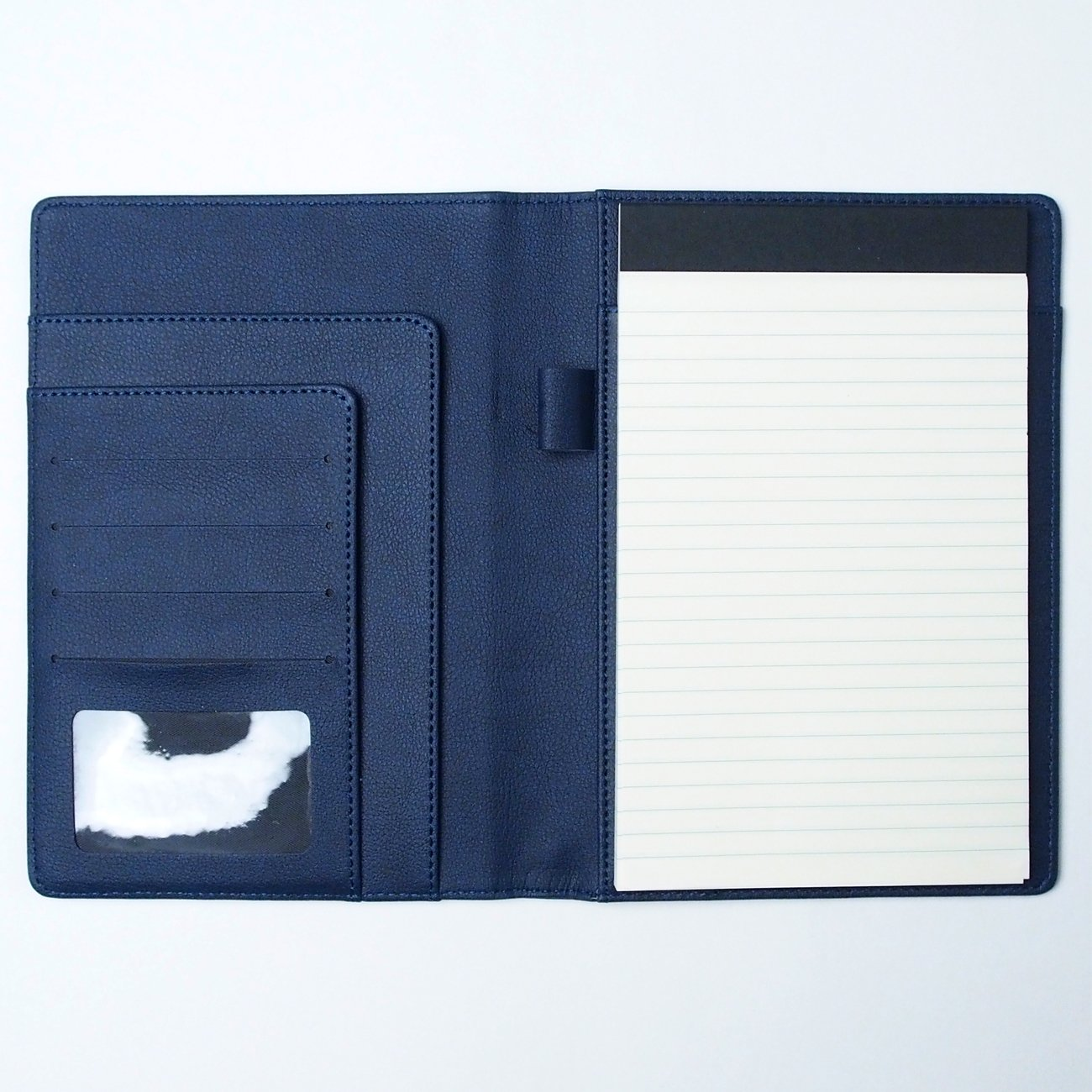 AHZOA 6 Pockets A5 Memo Padfolio S1, Including 5 X 8 inch Legal Writing Pad, Synthetic Leather Handmade About 6.3 X 8.7 inch Folder Clipboard (Navy)