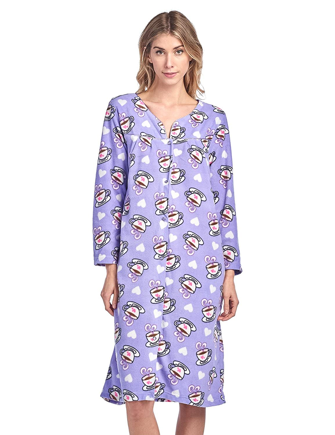 Casual Nights Women's Printed Fleece Snap-Front Lounger House Dress Long Sleeve Duster