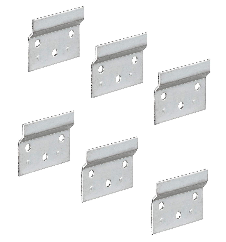Gedotec Plaques de Support Mural pour Armoire Suspendue | Mini Rail de Suspension pour Meuble | Porte-étagère à Visser et Accrocher | Acier Galvanisé | 60x48x2 mm, Diamètre 6 mm – Lot de 6 Diamètre 6 mm - Lot de 6