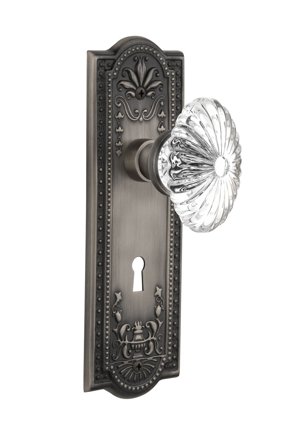 Antique Pewter Double Dummy Nostalgic Warehouse Meadows Plate with Keyhole Oval Fluted Crystal Glass Knob