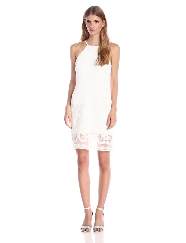Amazon.com: J.O.A. JOA Womens Sleeveless Dress With Lace Hem, White, Small: Clothing