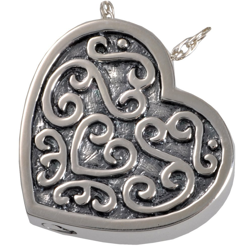 Memorial Gallery 3112a Filigree Slide heartSS Filigree Slide Heart Sterling Silver Cremation Pet Jewelry