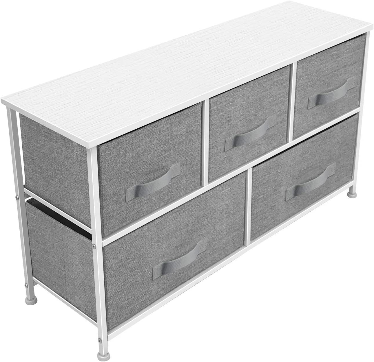 Sorbus Dresser with 5 Drawers - Furniture Storage Chest Tower Unit for Bedroom, Hallway, Closet, Office Organization - Steel Frame, Wood Top, Easy Pull Fabric Bins White Gray
