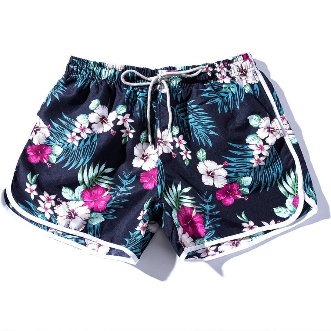 06c8decfbf Amazon.com: Women Summer Sport Beach Swim Shorts Trunks Teen Girls Casual  Floral Boho Short Pants Black: Clothing