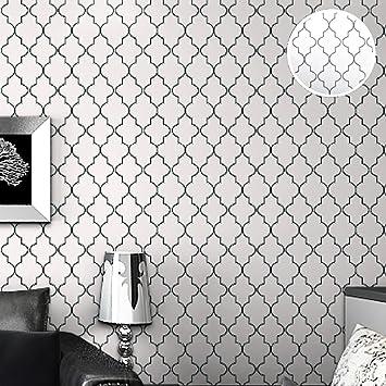 HLMYYO 3d Wallpaper Moderne Minimalistische Tartan Tapete Vliestapete  Geometrisches Muster Raute Schwarz Und Weiß Wohnzimmer Schlafzimmer