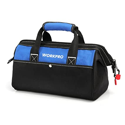 WORKPRO 13-inch Tool Bag, Wide Mouth Tool Tote Bag with Inside ... 7fa605769b