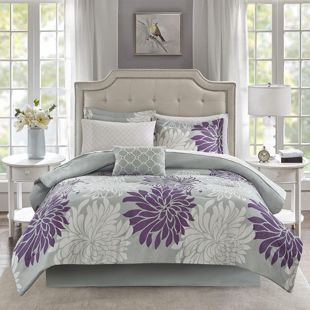 Madison Park Essentials Marible 9 Piece Complete Comforter Cotton Sheet Bedding Set, Queen, Purple