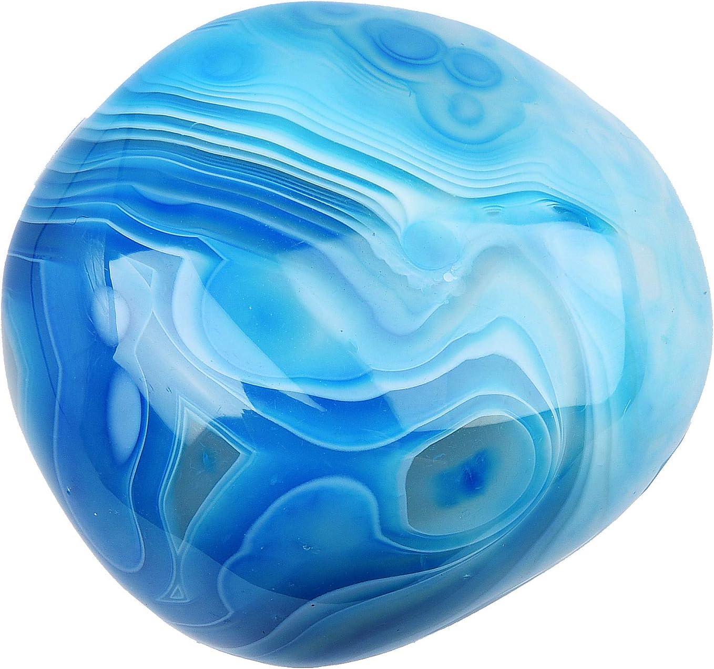 June&Ann Piedras de ágata azul de la palma, terapia de piedras preciosas curativas para meditación, colección de equilibrio de chakras, forma irregular