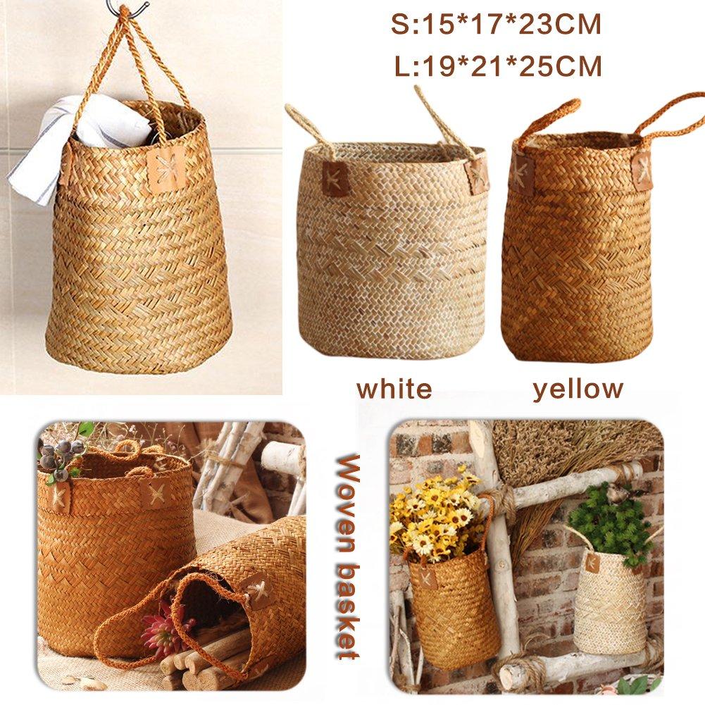 PROKTH Giardinaggio hand-woven Fruit Flower cestino, cesto portaoggetti organizer pianta vaso di fiori basket, White, small