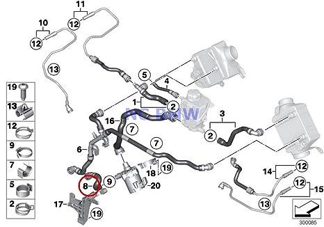 BMW Genuine Turbo Cooling System Water Hoses Coolant Hose 650i 650iX 550i 550iX 550i 550iX 550i