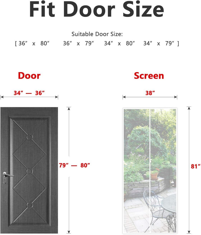 MAGZO Magnet Screen Door 48 x 96 Double Door Magnetic Mesh with Heavy Duty Fits Door Size up to 48x96 Max-White