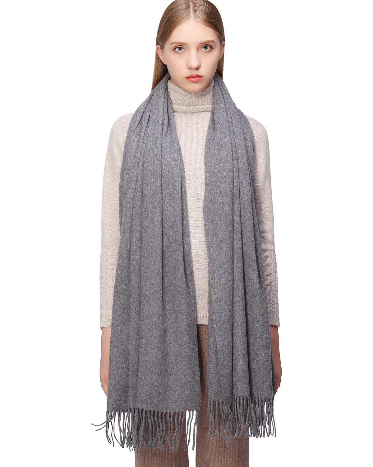 100% Cashmere Scarf Pashmina Shawls and Wraps for Women Warm Winter More Thicker Soft Scarves Grey by RIIQIICHY