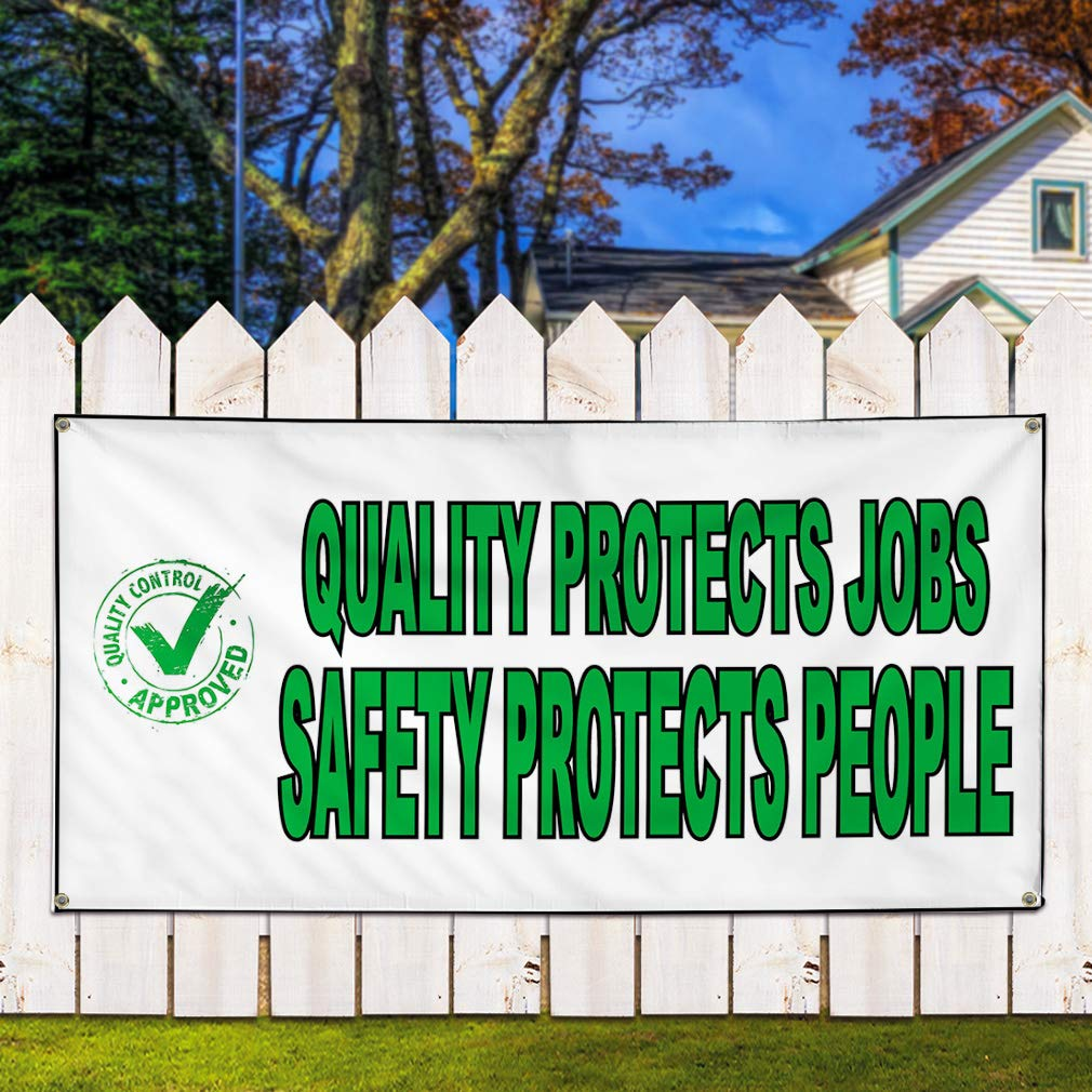 6 Grommets Multiple Sizes Available Vinyl Banner Sign Quality Protects Jobs White Green Outdoor Marketing Advertising White Set of 2 32inx80in