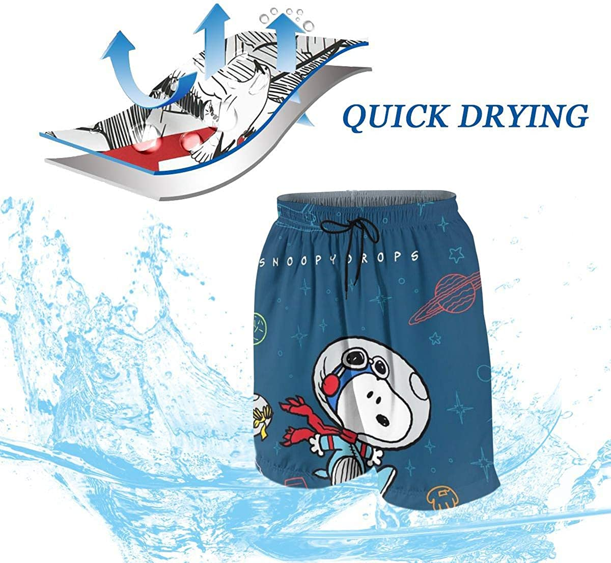 Swim Trunks Snoopy Drops Quick Dry Beach Board Shorts Bathing Suit with Side Pockets for Teen Boys
