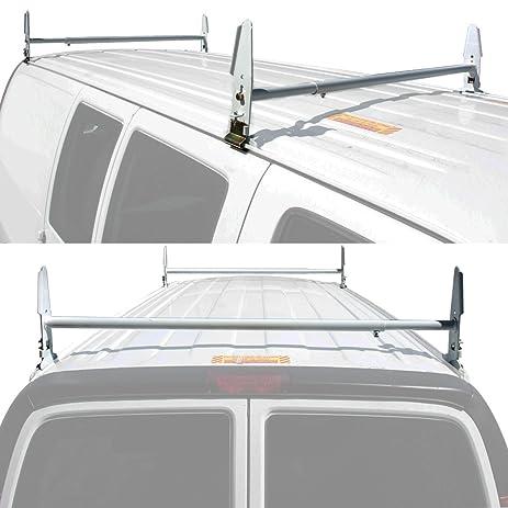 Superior Apontus RackPro Van Ladder Roof Rack Gutter Mount Contractor 500 Lb  Universal (2 BAR WHITE