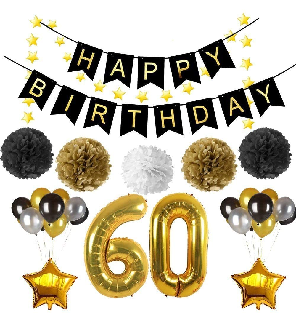 60th Birthday Party Decorations, Happy Birthday Banner, Large 32 inch Gold Number Balloons60, 3 color balloon, Five-pointed Star Garland and Gold Balloons, Perfect for 60 Years Old Party Supplies Rhincow