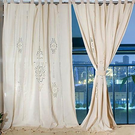Aparty4u, grandi tende in lino, motivo floreale, in cotone all\'uncinetto,  tende oscuranti per finestra, 259 x 183 cm