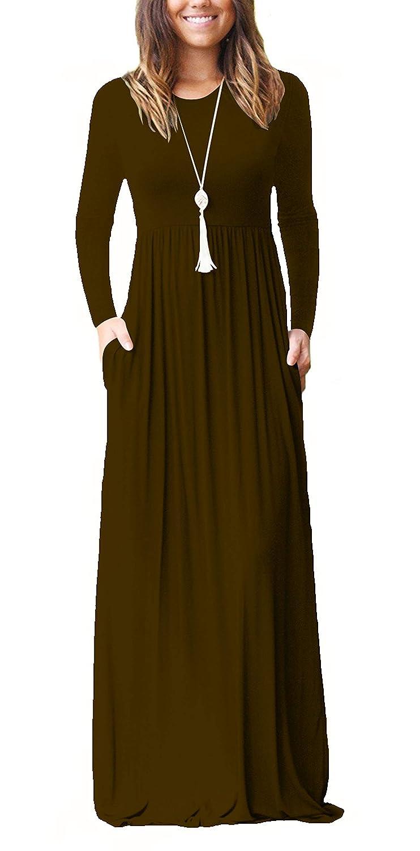 ZIOOER Women Long Sleeve Loose Plain Maxi Dresses Casual Long Pockets Dresses