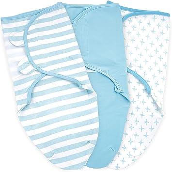 Small-Medium 220 GSM Breathable Cotton 0-3-Month Baby Swaddle Blanket 3 Pack Infant Adjustable Swaddles Sack Newborn Swaddling Wrap
