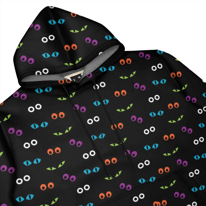Mens Halloween Eyes 3D Casual Hoodies Print Cute Novelty Sweatshirt Tall Kangaroo Pocket Hoodie Jacket