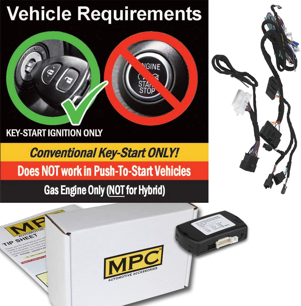 Gas Firmware Preloaded MPC Plug-n-Play Factory Remote Activated Remote Start Kit for 2016-2018 Ford Focus Key-to-Start ONLY w//T-Harness