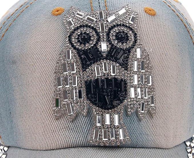 Vovotrade/® ❃❃ Unisex casquette de Sports Femmes Motif Hibou Denim Baseball strass Cap Snapback Hip Hop Flat Hat
