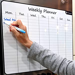 "Large 17.5""x13.5"" Dry-Erase Magnetic Weekly Calendar (Organizer/Planner) for Kitchen Fridge (Full Set: 8 Markers + Eraser) & Free Bonus: 3 Grocery/to-Do List Whiteboards (Stain Free) 