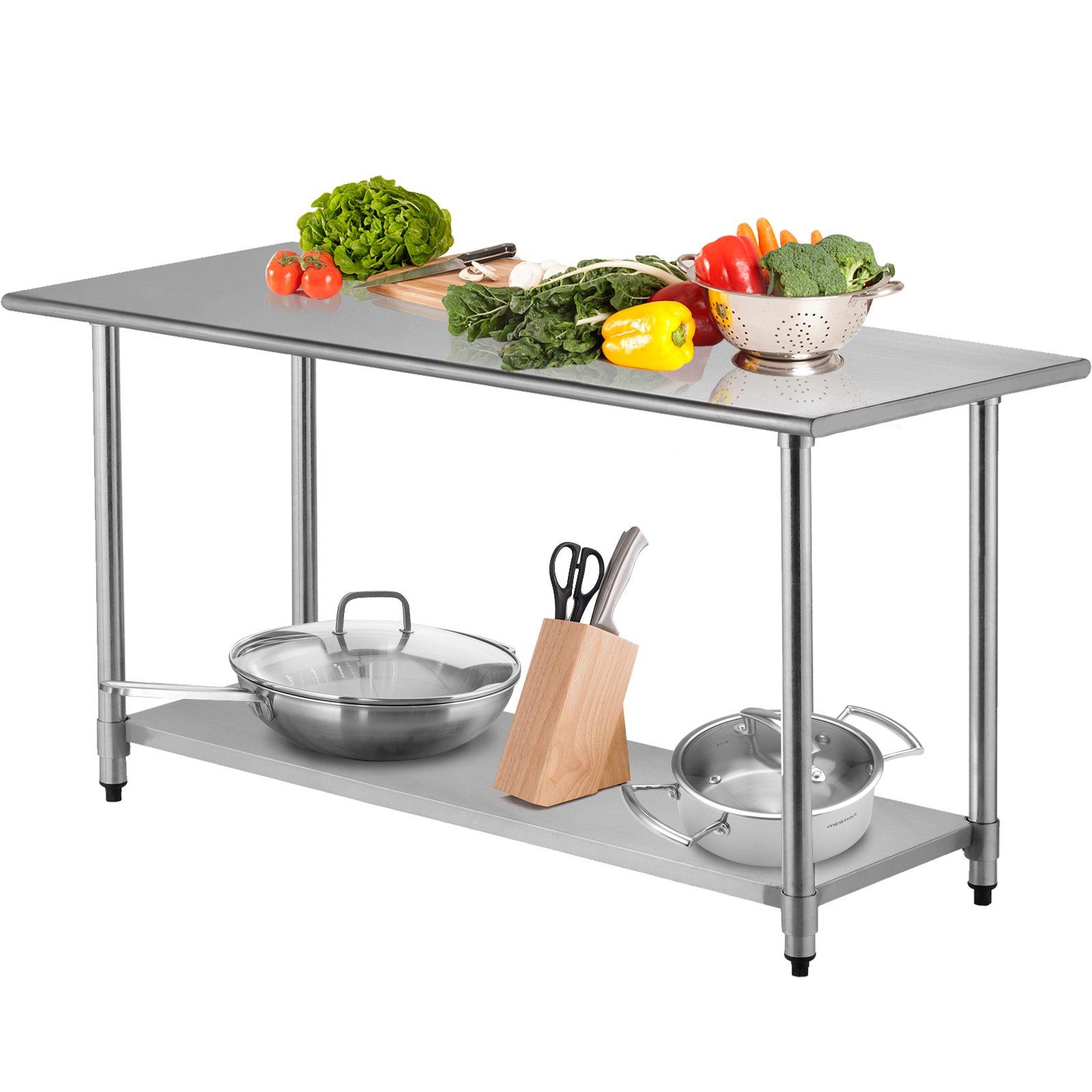 SUNCOO Commercial Stainless Steel Work Food Prep Table with Undershelf (72 in Long x 30 in Deep Without Backsplash)