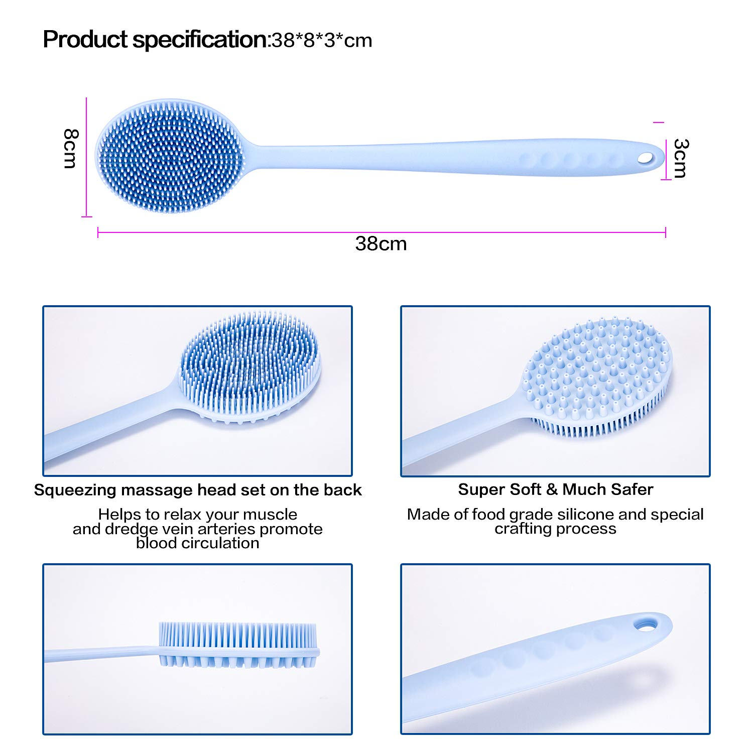 Bath Body Brush Ultra Soft Silicone Shower Back Scrubber for Healthy Sensitive Skin Care Massage Cleanser with Long Handle - Blue