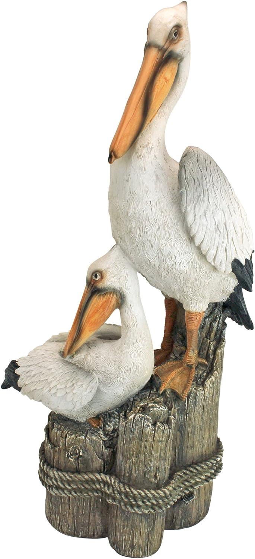 Design Toscano Coastal Decor Ocean's Perch Pelicans Garden Bird Statue, 24 Inch, Polyresin, Full Color : Design Toscano Ocean S Perch Pelican Statue : Garden & Outdoor