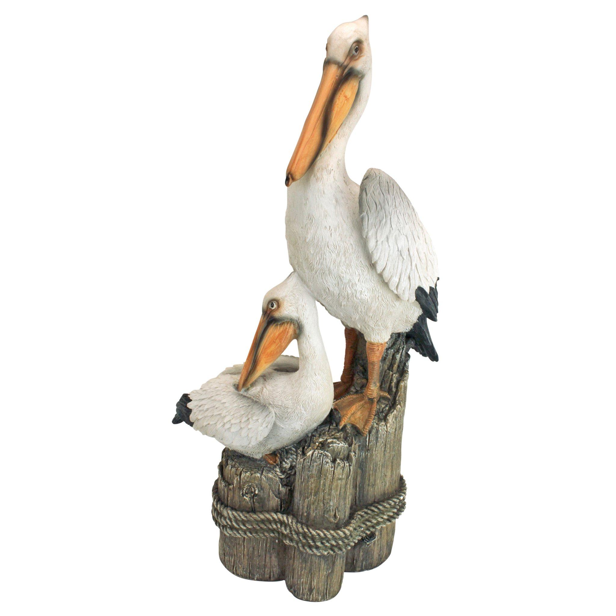 Design Toscano Coastal Decor Ocean's Perch Pelicans Garden Bird Statue, 24 Inch, Polyresin, Full Color