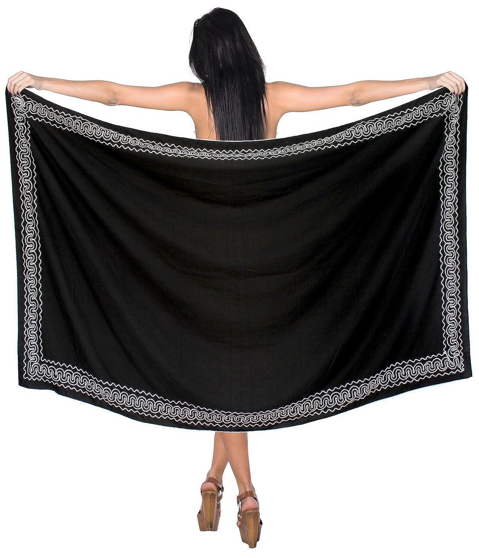 La Leela glatt Rayon schwarz alles in einem Strand loung Abnutzung/Badeanzug vertuschen/Tunika/sundress/Bikini Schlitz Rock/Damen Pareo wickeln bestickt/plus Größe Badeanzug 182x108 Sarong Kleid cms