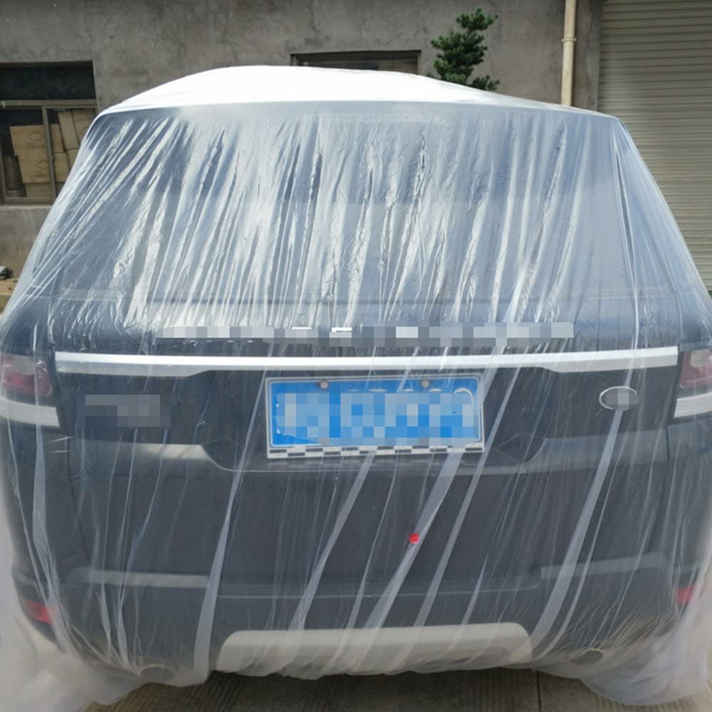 BEESCLOVER 3 tama/ño LDPE Pel/ícula Exterior Transparente desechable Full Car Cover Resistente a la Lluvia//Polvo Garaje Universal Temporal