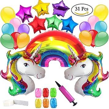 Clerfy Acc Unicornio y Arco Iris Globo de Cumpleaños Kit-de Fiesta de Cumpleaños Feliz Suministros con Globos de Unicornio Banner de Cumpleaños de ...