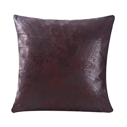 WFLOSUNVE Soft Faux Leather Pillow Covers Decorative Throw Pillow Case  Cushion Cover For Couch And Sofa