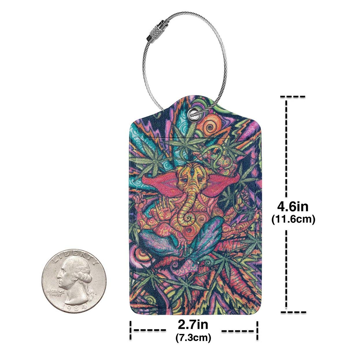 GoldK Bohemian Elephants and Tie Dye Weed Leather Luggage Tags Baggage Bag Instrument Tag Travel Labels Accessories with Privacy Cover