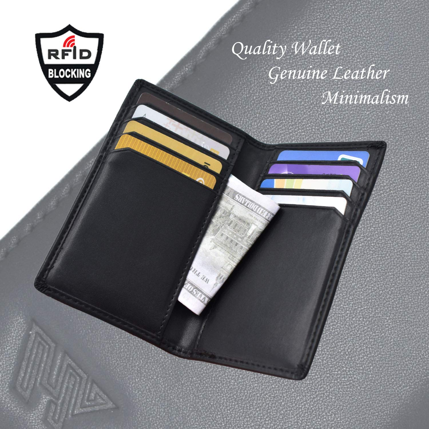 YH-DIMENSION, High-End Wallet, RFID Blocking Credit Card Holder Wallet Bifold for Men Women,Ture Quality, Genuine Leather, Minimalist Design, Large Capacity, Light Weight, Black