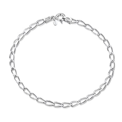 05095950700c0 Amberta 925 Sterling Silver 3.1 mm Diamond Cut Oval Cable Charm Bracelet  Size Chain Necklace 7.5