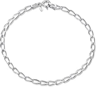 UK Jewellery 12 X Silver Link Curb Rollo Chain Bracelets For Clip on Charms