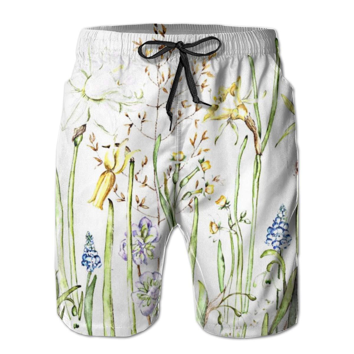 Galaxy Voyage Spring Flowers Boys Mens Swim Trunks Surf Pants 3D Swimming Trunks Board Shorts for Men