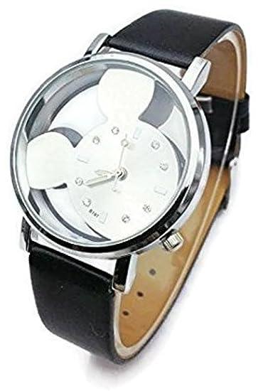 Mickey Mouse hueca de Digital de cuarzo reloj de pulsera de mujer, color negro/plata: Amazon.es: Relojes