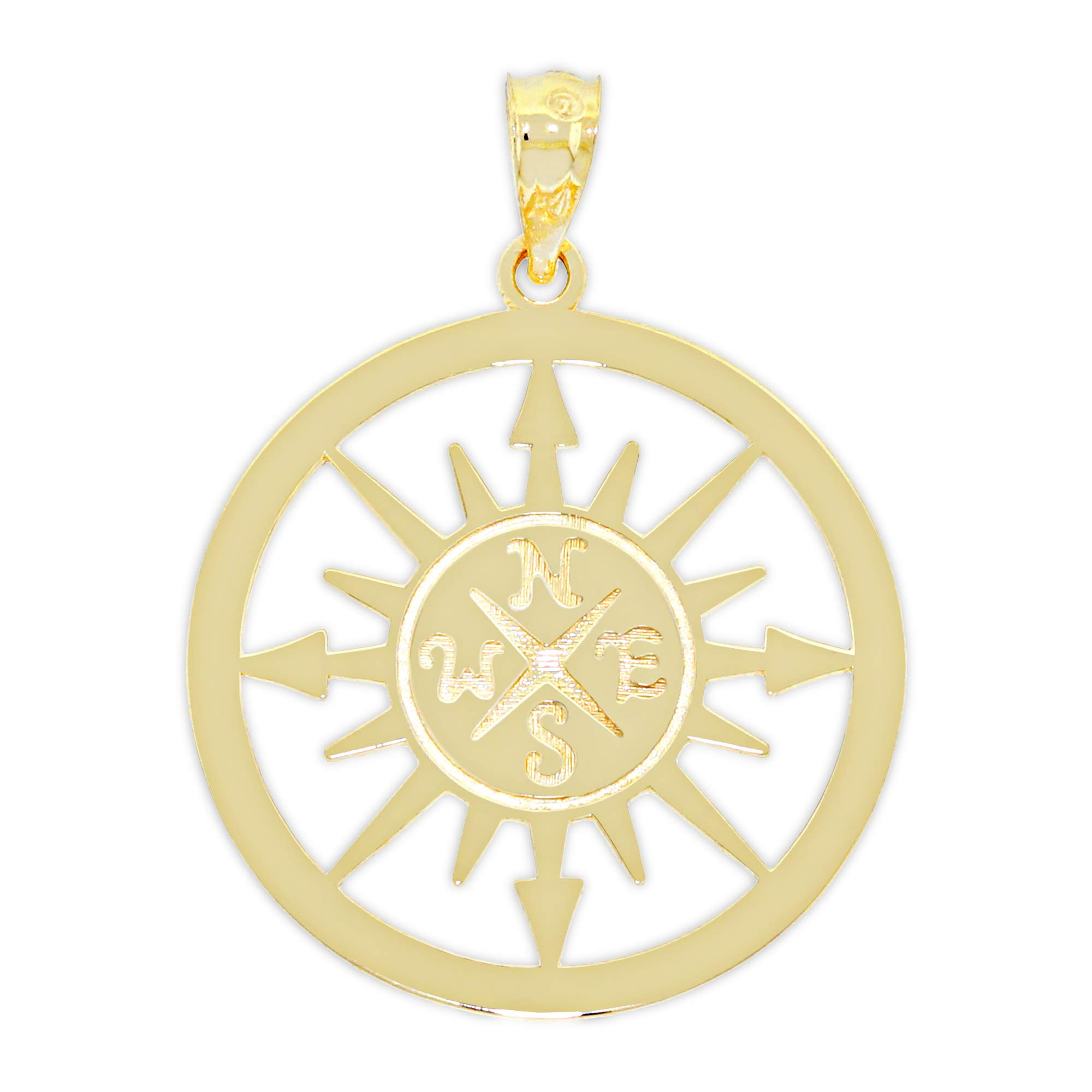 Charm America - Gold Reversible Compass Charm - 14 Karat Solid Gold - I Would be Lost Without You
