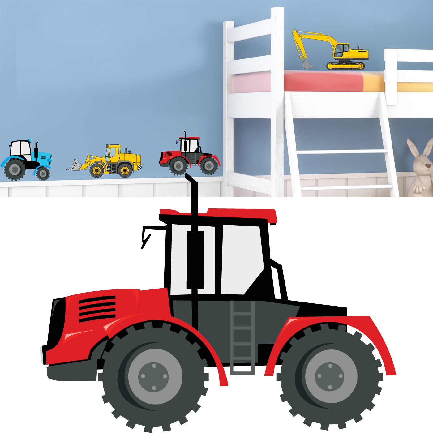 Tractor and digger kids bedroom nursery wall stickers childrens tractor and digger kids bedroom nursery wall stickers childrens boys baby custom graphic decal amazon kitchen home amipublicfo Gallery