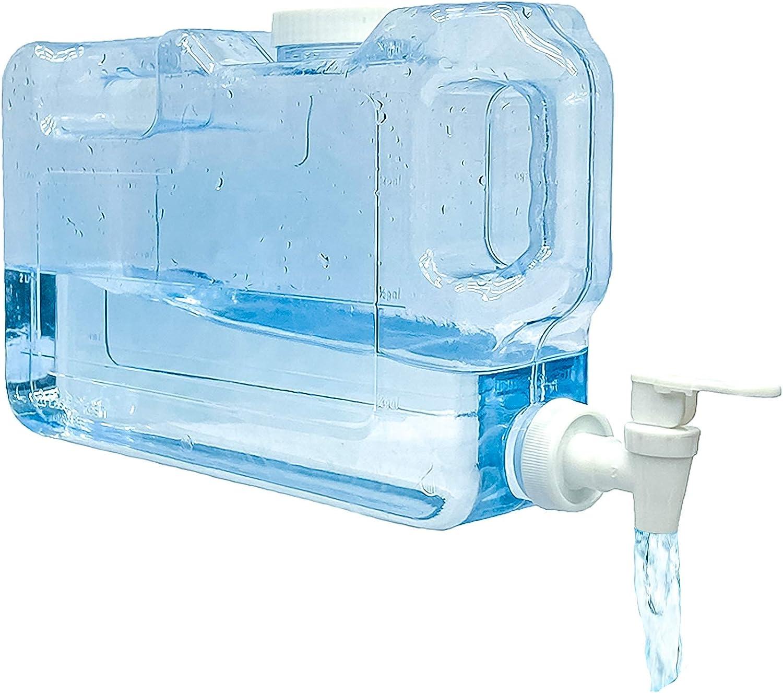 Mr. Castle Dispensador de Agua fría para Nevera.Garrafa con Capacidad 3 litros. Botella de plástico PETG Reutilizable. Fuente para Agua, Bebidas, Playa, Camping, Oficina. (3 litros)