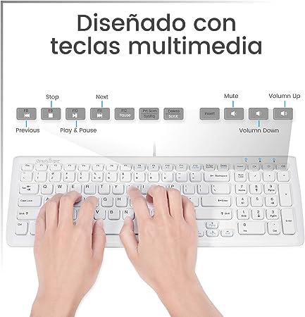 Perixx PERIDUO-303 Pack de Teclado y Ratón Español, Conector USB, 7 Teclas de Multimedia, Blanco