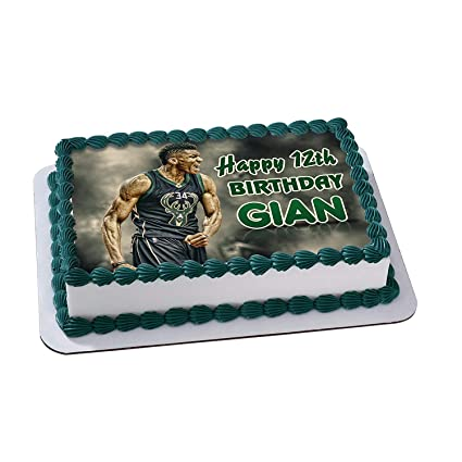 Giannis Antetokounmpo Milwaukee Bucks Birthday Cake Personalized Toppers Edible Frosting Photo Icing Sugar Paper A4